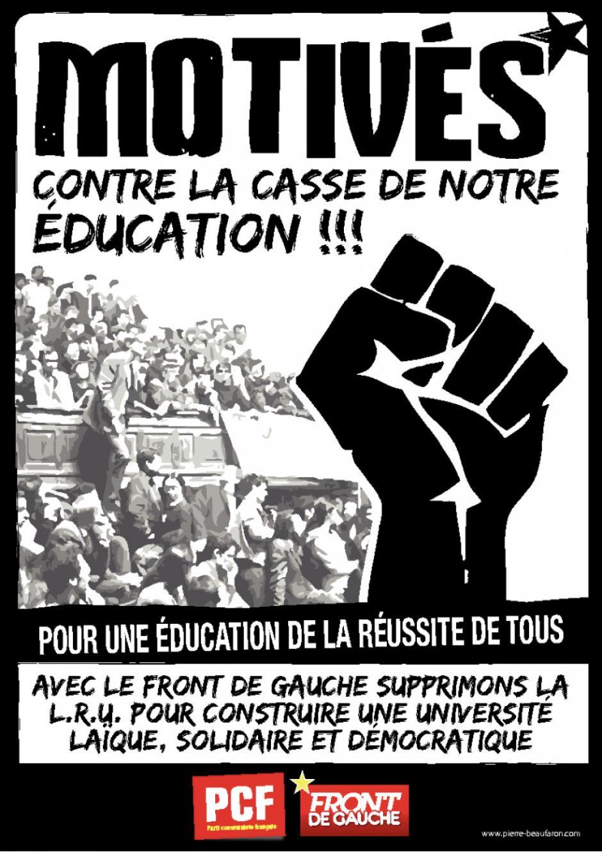 Affiche de la section universitaire PCF du Rhône