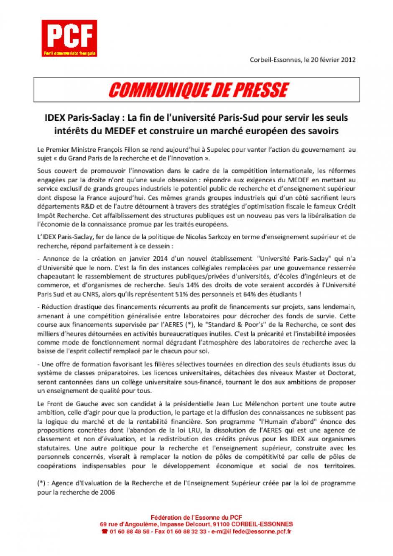 IDEX Paris-Saclay : La fin de l'université Paris-Sud pour servir les seuls intérêts du MEDEF et construire un marché européen des savoirs