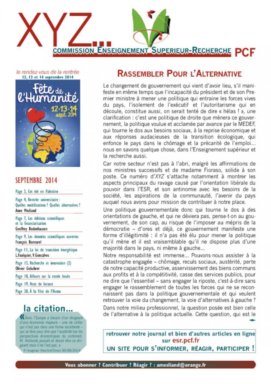 XYZ septembre 2014 - Rassembler pour l'alternative
